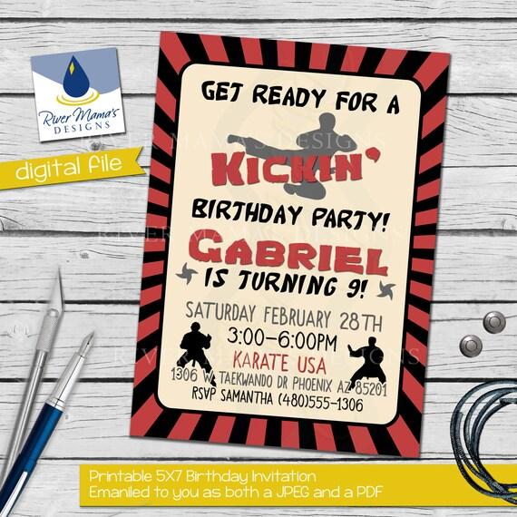 Printable Karate Birthday Invitation / Ninja By