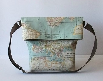 Shoulder canvas bag - World map Big - Canvas Collection