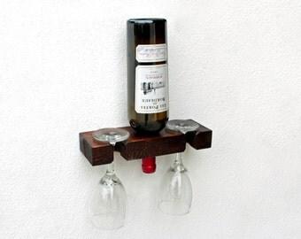Wine Bottle Holder, Wall Wine Bottle Display, Single Wine Bottle & Wine Glass Holder