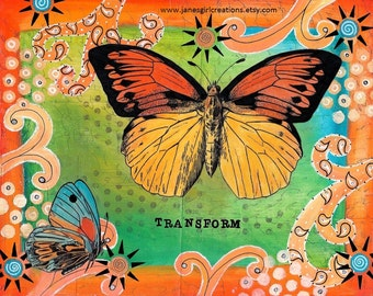 Transform butterfly matted print of mixed media 5x7 matted for 8x10 frame free ship in US
