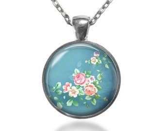 Shabby Blue Pendant Necklace