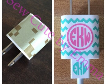 Phone Charger Decal, Charging Block, Monogram Initial Decal, Sticker, iphone or Galaxy, FREE SHIPPING, Easter basket stocking stuffer idea