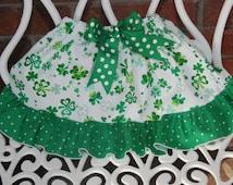 St. Patrick's Day Ruffle Skirt! Baby/Toddler/Girls Shamrock Ruffle Skirt with waistband bow! Shamrock ruffle skirt/4 leaf clover skirt/Skirt