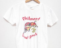 50s PHILMONT BOY SCOUT Ranch Bull Graphic Vintage T-Shirt / White / Size xs - Small