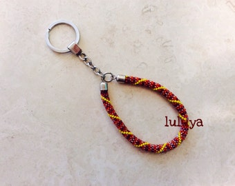Red Plum Yellow Beaded Bead Handmade Keychain Key Chain Key Fob Wristlet Silver Key Ring Gift