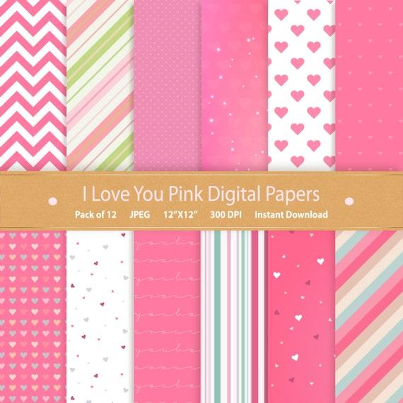 Digital Paper I Love You Pink Digital Paper Pack Valentines Digital