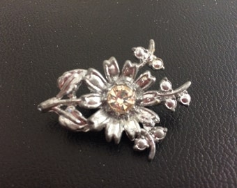 Silver Alloy and Crystal Floral Brooch