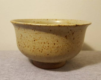 Handmade Gray-Green Speckled Soup Bowl, Reduction-Fired Red Stoneware