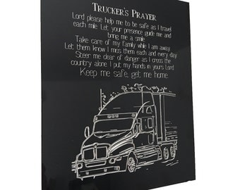 "Trucker's Prayer - 8"" x 10"" Truck Driver Prayer Engraving"