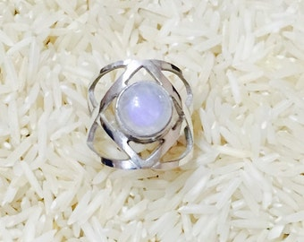 Moonstone ring in set sterling silver 925. Size -7. Natural authentic moonstone.