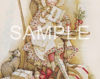Fabric Art Quilt Block - Holly Hobbie Christmas - 12-1579  FREE Shipping