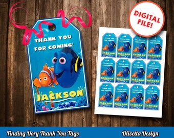 Finding Dory Tags - Thank You Tags - Tag Gift Tag Printable DIY, Printable 8.5x11, Finding Dory favor, Dory tags - Customized Digital File