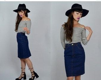 """SALE Denim   XS 23""""   1980s Vintage Fitted Pencil Skirt High Waist Dark Denim"""