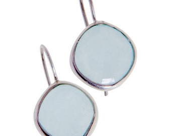 Sterling Silver Handmade Aqua Chalcedony Earrings