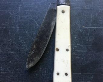 Coffin shaped bone handled pocketknife