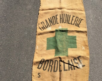 French storage sack with orginal printing and mends