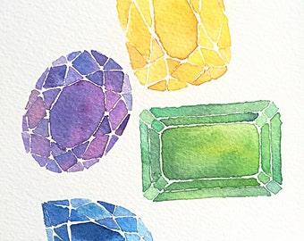 Orginal precious gemstone mounted watercolour painting, yellow citrine, purple amethyst, green emerald and blue sapphire
