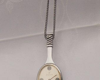 Vintage Necklace Watch. Tennis racquet design.