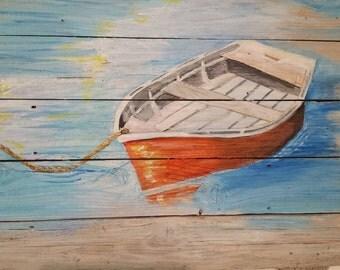 HUGE Orange boat painting, nautical painting on  upcycled wood, boat painting