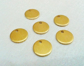 50 Pcs Raw Brass 10 mm Round Stamping Blank Disc -  ( 1  Hole -Thickness Of 1 mm ) 18 Gauge