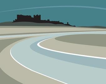 A3 LTD EDITION PRINT. Uk Bamburgh Castle Minimal contemporary archival art print, inspired modernist design - By Ian Mitchell