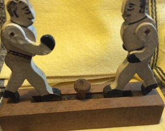 Antique Boxers Whimsey Folk Art Toy