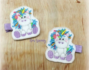 Unicorn Hair Clips, Unicorn Clippies, Unicorn Bow, Baby Unicorn Clips, Felt Hair Clips, Felt Clippers, Lavender Clippers, Toddler Hair Clips