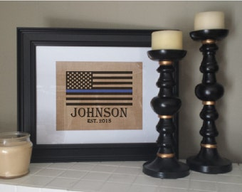 Fast Shipping, Great Reviews! Custom burlap print for police officer. Thin blue line. American flag, with family name  Police proud