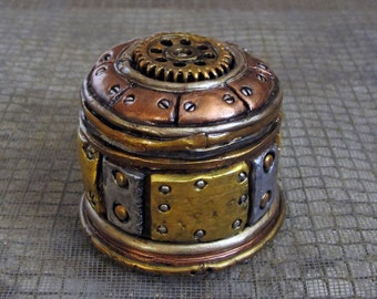 Clay SteamPunk Trinket box with the look of old, worn, and beat up metal! Funky and cool!