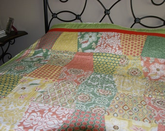 Pastel Peach and Green Lap Quilt