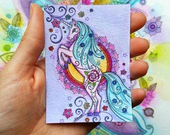 HALF PRICE - Mini Fairytale Unicorn Print - ACEO size