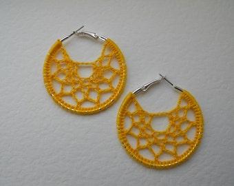 Crochet Hoop Earrings – Handmade Yellow/Black Lace Earrings – Gift for her – Under 10
