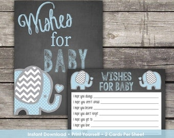 Blue Elephant Wishes for Baby Cards - Elephant Baby Wishes - Elephant Baby Shower Game Baby-102