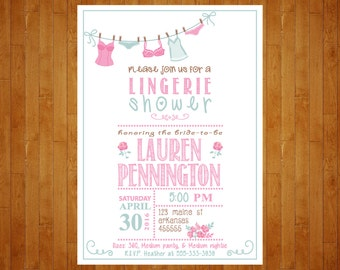 Lingerie Shower Invitation or Lingerie Party Invitation Shabby Chic Lingerie Invite Whimsical Lingerie Invitation PRINTABLE digital file