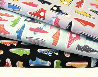 Sneakers~High Tops~Tennis Shoes Fabric~by the 1/2 yard~3 colors to pick~Robert Kaufman This and That~Ann Kelle