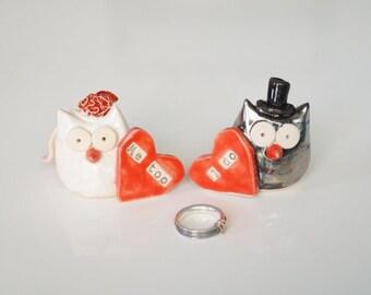Wedding Owl Cake Topper, Owl Couple, I DO, Ceramic Cake Topper, Ceramics and Pottery