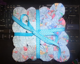 """A Set Four Cool Blue YOYO Coasters  6 1/2"""" X 6 1/2"""" or 16.51 X 16.51 centimetrs  Made By Hand, a Great Christmas Present"""