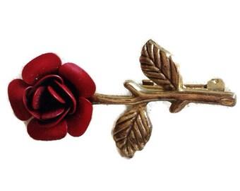 Vintage red rose brooch - Vintage Jewelry- Vintage brooch- Floral Brooch
