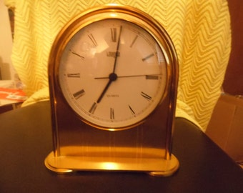 Vintage Brass I.MAGNIN Quartz Mantel/Desk/Nitestand Clock Hechinger Movement W. Germany