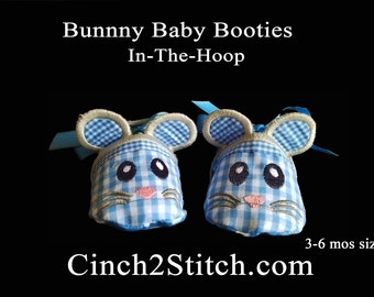 Mouse Baby Shoes - In The Hoop - Machine Embroidery Design Download - (3-6 month size)