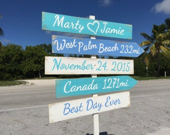 Wedding Beach Sign. Nautical Wedding Decor. Gift for couple. Best Day Ever Wooden wedding ceremony sign.