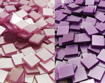 Resin mosaic tiles, 10x10 mm, Glossy effect, Mixed Purple