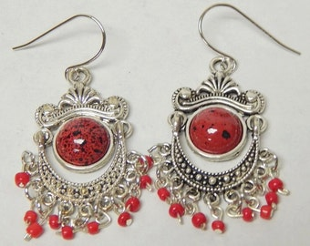 Red Chandelier Earrings