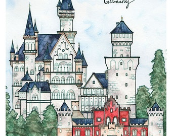 NEUSCHWANSTEIN CASTLE Print 8x12 Ink and Watercolor Painting