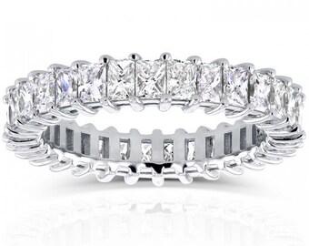 Princess Baguette Diamond Eternity Band 3 1/6 CTW in 14K White Gold
