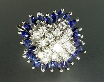 18K White Gold Diamond Marquise Sapphire Ballerina Spray Retro Vintage Ring
