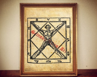 Man in magic square print, Cornelius Agrippa, magical poster, medieval picture, occult art, symbol, pentacle poster, wall decor #363.2