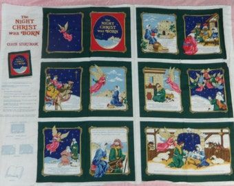 The Night Christ Was Born, printed soft book fabric panel, Fabric Traditions, 1994, with instructions