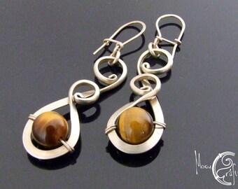 Delicate wirework earrings adorned with tiger eye gemstones