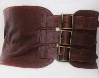Brown Corset Leather Three Buckle Belt | Brown Waist Belt | Corset Wide Belt | Leather Buckle Belt | Buckle Belt | Plus Size